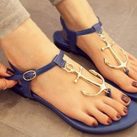 Ocean Navy Anchor Thong Sandals