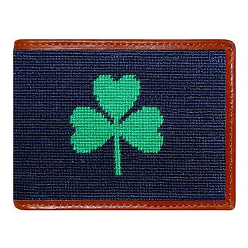Shamrock Needlepoint Wallet by Smathers & Branson
