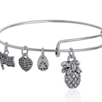 Alex and Ani  style pineapple pendant charm bracelet
