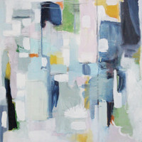 """blue-pink-gray-hint of green, abstract art """"white eagle in the forest"""", 36x36"""