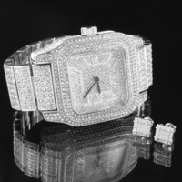 Men Hip Hop  Watch Earrings Set Simulated Diamond Silver Tone Rapper