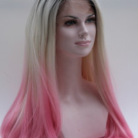 Ombre Grey and pink Bodywave Synthetic Lace Front Wig