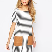 Vila Striped T-Shirt Dress With Patch Pocket