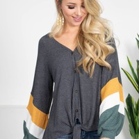 Autumn Grey Knot Top