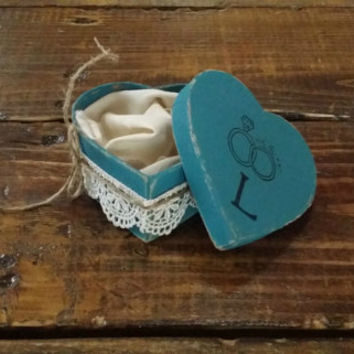 Rustic Teal and Lace Ring Bearer Heart Shaped Box, Rustic Ring Bearer Pillow Alternative, Rustic Wedding Ring Holder, Rustic Wedding Decor