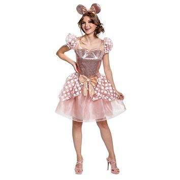 Women's Rose Gold Minnie Deluxe Costume