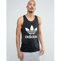 Adidas Clover Summer Men Quick Dry Breathable Tight Sports Vest Top Black