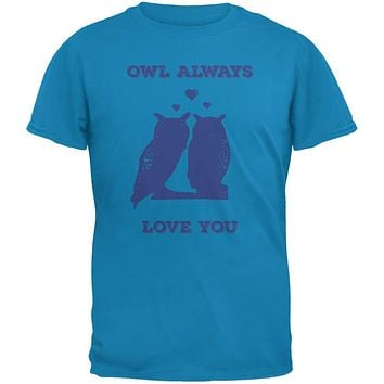 Valentine's Day - Paws - Owl Always Love You Blue Adult T-Shirt