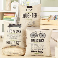 """New Arrival Bicycle Print Home Decorative Bed Cushion Throw Pillowcase 18"""" Vintage Cotton Linen Square Pillows AU01"""