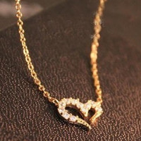Misha Barton Love Promise Love Heart Necklace Short women Sweater Chain (free shipping )min max order is $9.9 BW-2261