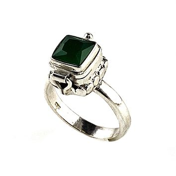 Emerald Sterling Silver Poison Ring