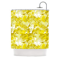 "Anneline Sophia ""Marbleized In Gold"" Yellow Shower Curtain"