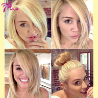 Luffy 10A Top Grade #613 Lightest Blonde Short Bob Wigs Brazilian Virgin Human Hair Full Lace Wig With Side Bangs Lace Front Wig