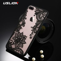 USLION Retro Mandala Floral Phone Case For iPhone 8 8 Plus Sexy Lace Flower Clear Back Cover Hard PC Cases For iPhone8 Plus