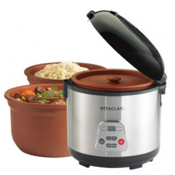 VitaClay« 2-in-1 Rice Slow Cooker - Round, 6-cup / 3.2-Quart