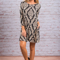 Put A Smile On My Face Dress, Black-Taupe