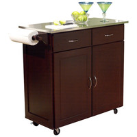 Modern Stainless Steel Top Kitchen Cart Island in Espresso Finish