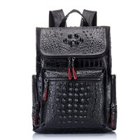 Student Backpack Children Crocodile Genuine Leather Men's Backpack Male Leather High Quality Student Travel Bag Men Designers Famous Brand High Quality AT_49_3