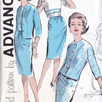 """1960s Junior Petites Dress and Jacket Vintage Sewing Pattern, Office Fashion, Spring Fashion, Advance 9795 bust 32.5"""" uncut"""