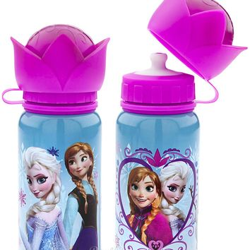 Licensed cool Disney Store Frozen Elsa Anna Aluminum Water Bottle Thermos Crown Top 12 OZ. NEW