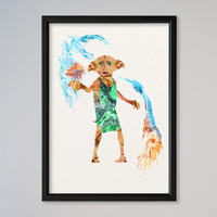 Dobby Watercolor Print Wall Decor Fine Art Giclee Print Poster Home Decor Wall Hanging Harry Potter Watercolor Poster