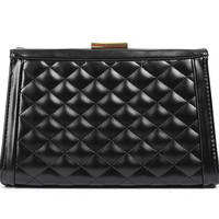 Designer Brand Quilted Grid PU Leather Clutch tote handbag