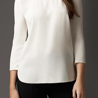 Chain Detail Satin-Back Crepe Top