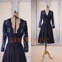 Navy Blue Lace Chiffon Knee length Prom Dresses Formal Party Dresses Bridesmaid Dresses Homecoming Dresses Evening Dress Wedding Party Dress