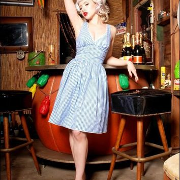 The Lolita Dress in Blue Gingham by Golightly | Pinup Girl Clothing