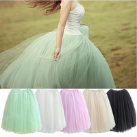 2016 Womens Lace Princess Fairy Style 5 layers Voile Tulle Skirt Bouffant Puffy Fashion Skirt Long Skirt Tutu Skirt Summer