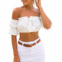 Sexy Summer Off Shoulder Crop Top Shirt