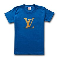 LV Louis Vuitton Fashion Men Casual Hot Letter Print T-Shirt Top Blouse Sapphire Blue