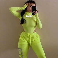 Reflective Letter High Cut Long Sleeve Body Suits