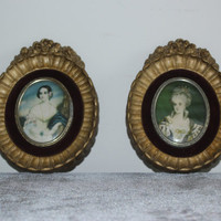 Pair of A Cameo Creation Victorian Wall Plaques, vintage wall hangings, vintage wall decor, antique gold decor