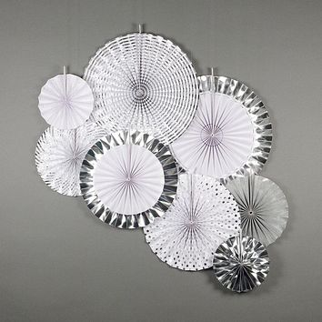 BLOWOUT Metallic Silver Pinwheel Paper Flower Backdrop Pinwheel Party Wall Decoration for New Year's, Graduations, Anniversaries or any celebration