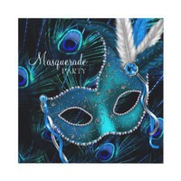 Teal Blue Peacock Mask Masquerade Party Personalized Announcement from Zazzle.com