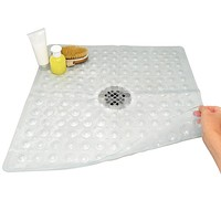 Evelots Square Shower Mat-Large-Drain Hole-Non Slip-Super Thick-164 Suction Cups