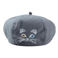 Gray Cute Kitty Embroidery Woolen Beret Hat