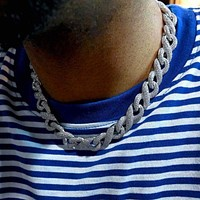 Infinity Cuban Link Chain in White Gold