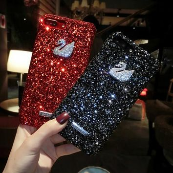 7Plus Phone cases For iPhone 7 Case 3D Glitter Bling swan Rhinestone Shell Hard PC hard Case For iPhone 8 Case 8 Plus Cover