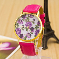 Women's Flower Print Leather Band Strap Wrist Watch