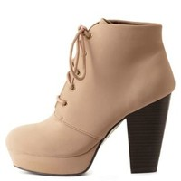 Taupe Chunky Heel Lace-Up Platform Booties by Charlotte Russe