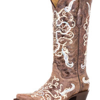 Corral Women's Tobacco/ Beige Silver Sequence Cross Boot - A1187