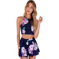 2016 new fashion women purple floral sexy backless casual two pieces sleeveless mini dress summer wear print dress Free shipping