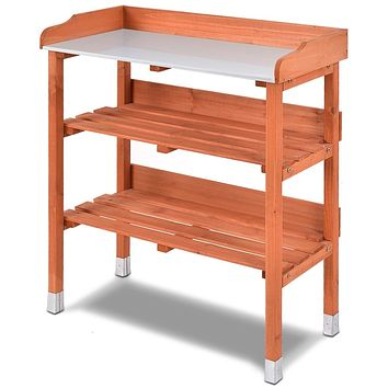 Outdoor Garden Wood Potting Bench Storage Shelf with Metal Top
