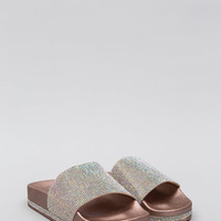 Sparkle In My Eye Jeweled Slide Sandals