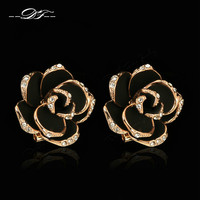 Mosaic Rose Australian Crystal Stud Earrings Rose Gold Plated Fashion Vintage Cute Jewelry For Women