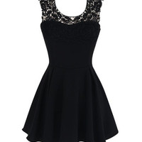 Lace Embroidered Sleeveless Sheath A-Line Mini Skater Dress