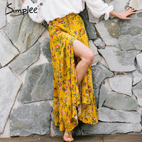 Simplee Boho style floral print long skirts womens bottoms 2017summer beach maxi skirt Elastic vintage chic sexy skirt female