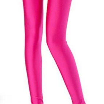 Sexy Solid Candy Neon Pink Leggings